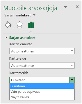 Excelin karttakaavion otsikkoasetukset