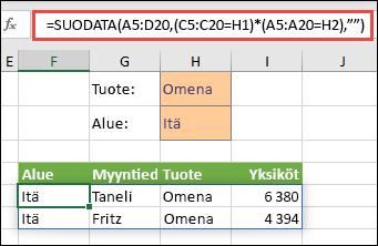 SUODATA-funktion käyttäminen kertolaskuoperaattorin merkin (*) kanssa palauttaa kaikki Microsoftin matriisialueen (A5:D20) arvot, jotka sisältävät omenat JA ovat idän alueella.