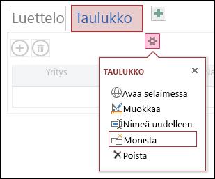 Asetusvalikko, jossa näkyy valinnat Avaa selaimessa, Muokkaa, Nimeä uudelleen, Kopioi ja Poista