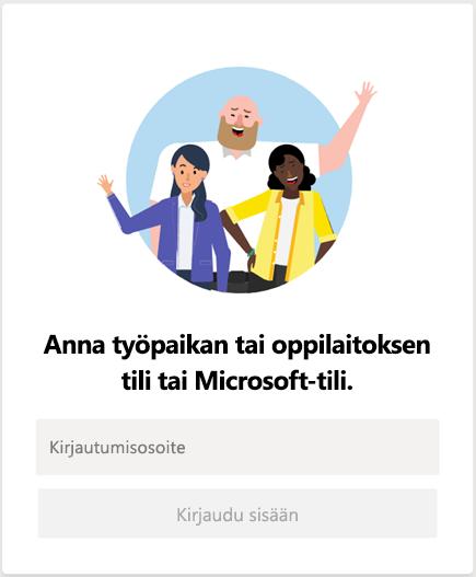Microsoft Teamsiin kirjautuminen