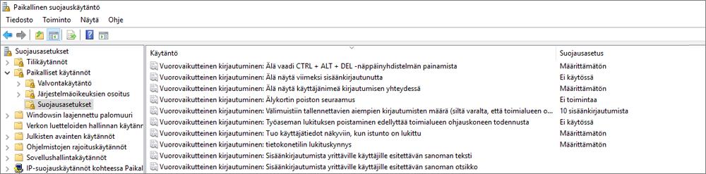 Paikallisen käyttö oikeus käytäntöjen ikkuna, jossa on turvallisuusasetukset, jotka osoittavat korjatut OneDrive-asetukset