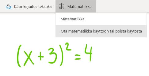 Matematiikka-painike OneNote for Windows 10:ssä