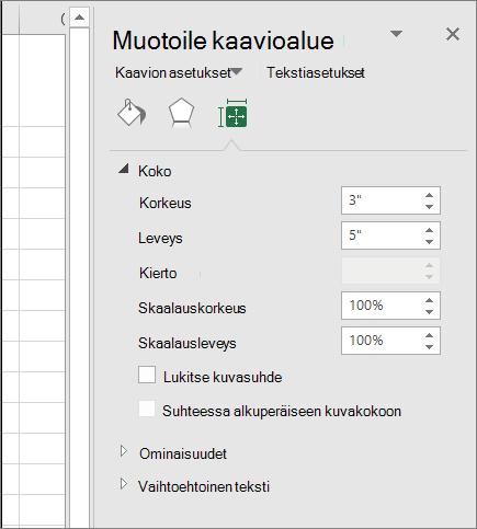 Voit muuttaa kaavion kokoa Muotoile kaavioalue-valintaikkunassa