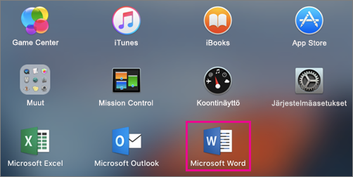 Näyttää Microsoft Word -kuvakkeen Launchpadin osittaisessa näkymässä