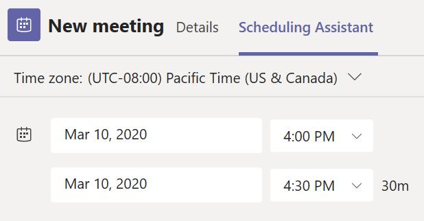 Aikatauluavustaja-välilehti Teamsin uuden kokouksen ajoitus -lomakkeessa.