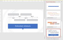 PowerPointin suunnittelutyökalu, jossa näkyy aikajanan rakenneideoita