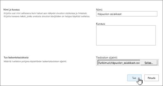 Uusi sovellus -valintaikkuna, jossa nimi ja tiedostosijainti ovat jo täytettyinä, tuonti näkyy korostettuna