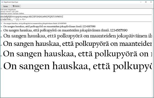 Windowsin fonttien esikatselun avulla voit tarkastella ja asentaa fontteja Windows-tietokoneessa