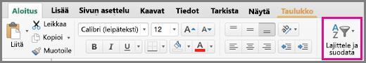 Excel for Macin Lajittele ja suodata -komento