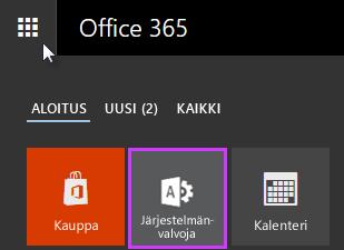 Office 365:n sovellusten käynnistin Järjestelmänvalvoja korostettuna.