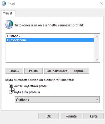 Näyttökuva Outlookin Profiilit-ruudusta