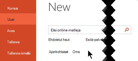 Valitse tiedosto > uusi-kohdassa Mukautettu vaihto ehto, jos haluat nähdä henkilökohtaiset mallit