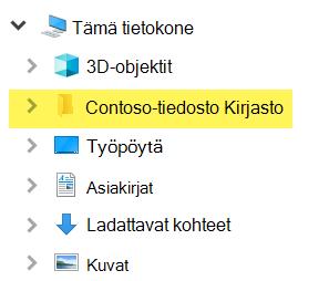 Resurssienhallinnassa yhdistetty kirjasto näkyy kansion merkinnänä Tämä tietokone -kohdassa.