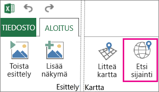 Power Mapin Aloitus-välilehden Etsi sijainti -painike
