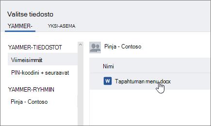 Näyttökuva Yammerin tiedostonvalitsimen valintaikkunasta, jossa Valitse tiedosto Yammerista -vaihtoehto on valittuna.