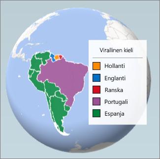 Aluekaavio Etelä-Amerikassa puhuttavista kielistä