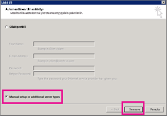 Manuaalisen määrityksen käyttö Outlook 2013:ssa