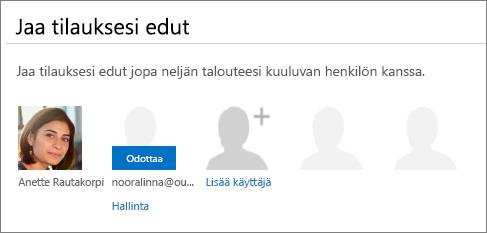 """Näyttökuva Jaa Office 365 -sivun """"Jaa tilausedut"""" -osasta, jossa jaetun käyttäjän tilana on Odottava."""