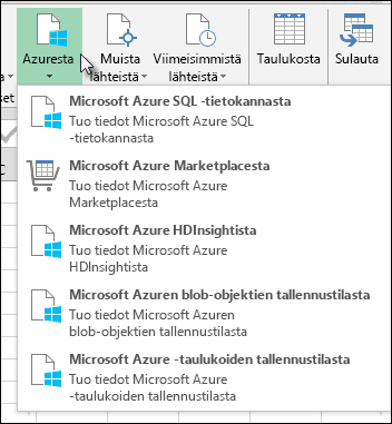 Power Query tuo Azure-valintaikkunassa.