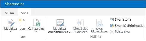 SharePoint 2013:n valintanauha näytön vasemmassa yläkulmassa