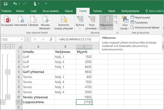 Valitse tiedot-väli lehdessä väli summa, jos haluat lisätä väli Summa rivin Excel-tietoihin.