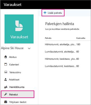 Palvelut-sivu, jossa lisää palvelu-linkki on korostettuna