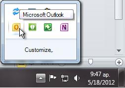 Ilmoitusalue laajennettuna näyttämään Outlook-kuvake