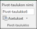 Pivot-taulukon uudelleennimeäminen valinnalla Pivot-taulukkotyökalut > Analysoi > Pivot-taulukon nimi -ruutu