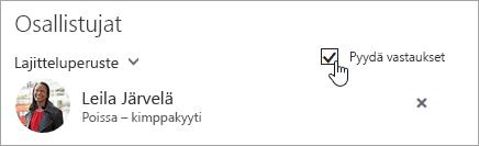 Näyttökuva Outlookin verkkoversion Pyydä vastaukset -painikkeesta