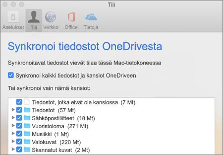 Kansioiden synkronointi -valintaikkuna Macin OneDrive-sovelluksessa