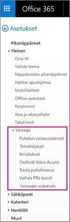 Vastaajaviestiasetukset Outlookin sähköpostin asetusruudussa