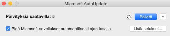 Microsoftin automaattinen päivityspalvelu -ikkuna, kun päivityksiä on saatavilla.