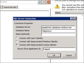 Näyttökuva SQL Server -yhteys -valintaikkunasta, jossa voi kirjoittaa SQL Azure -tietokantapalvelimen nimen ja käyttää Yhdistä tekeytymällä mukautetuiksi käyttäjätiedoiksi -komentoa suojatun säilön sovelluksen tunnuksen antamiseen.