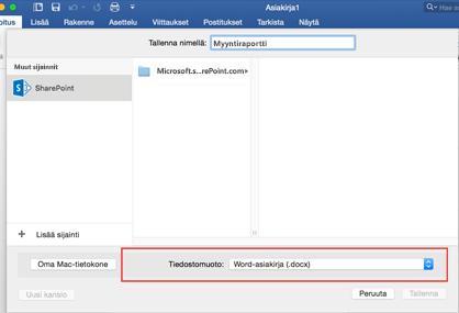 Wordin Tallenna nimellä -valintaikkunan Tiedostomuoto-työkalun avulla voit valita muita tallennusmuotoja, kuten PDF-tallennusmuodon.