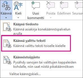 Valitun tekstin kääntäminen