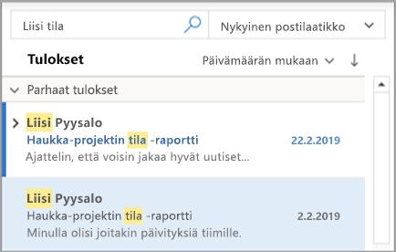 Näyttää Outlookin hakutulokset