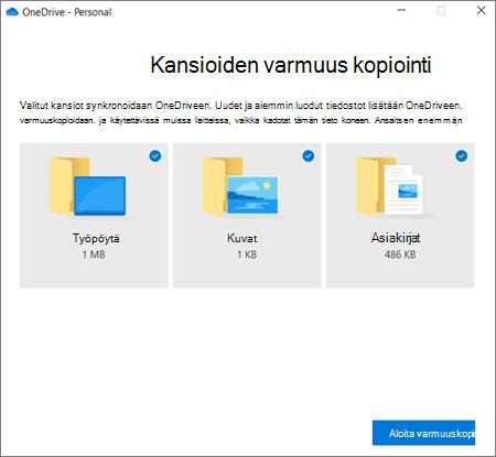 Näyttö kuva OneDriven tärkeiden kansioiden määrittäminen-valinta ikkunasta