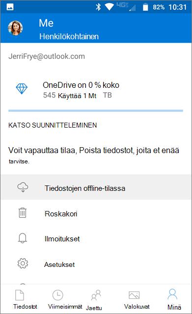 OneDriven offline-kansio