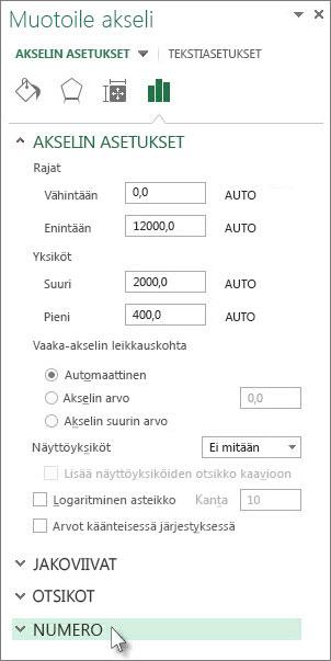 Luku-asetukset Akselin muotoileminen -ruudussa