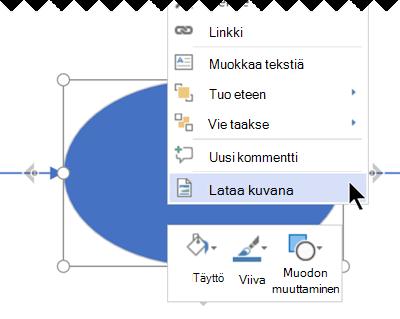 Napsauta valintaa hiiren kakkospainikkeella ja valitse sitten Lataa kuvana.