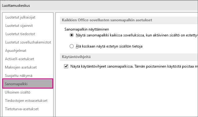 Luottamuskeskuksen Sanomapalkki-asetukset