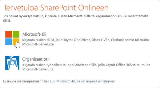 Näyttökuva, jossa näkyy SharePoint Onlinen sisäänkirjautumisnäyttö.