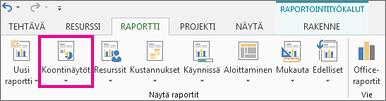 Raportti-välilehden Koontinäytöt-painike