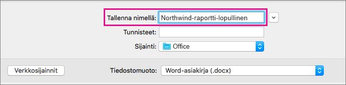 Kirjoita nykyisen asiakirjan tiedostonimi tai muokkaa sitä Tallenna nimellä -ruudussa.