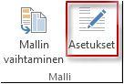 Publisher 2013:n Mallin asetukset -painike