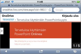 Diaesitys PowerPoint Mobile -katseluohjelmassa