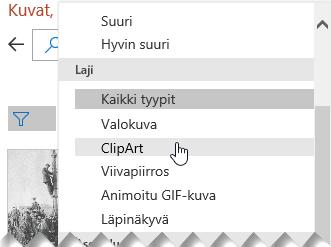 Tyyppisuodattimen avulla voit rajata valintasi ClipArt-kuviin