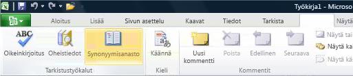 Excel-valintanauhan Tarkista-välilehden Synonyymisanasto