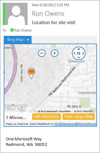 Sähköpostiviesti, jossa Bing Maps -sovellus näyttää osoitteen kartalla