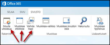 Julkisen sivuston Sivusto-välilehden valintanauha, jossa on näkyvissä Muuta ulkoasua-, Muokkaa otsikkoa- ja Muuta logoa -painikkeet